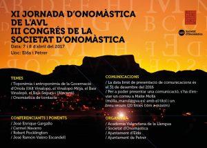 XI Jornada D'Onomàstica De L'AVL I III Congrés De La Societat D'Onomàstica (Elda I Petrer, Abril 2017)