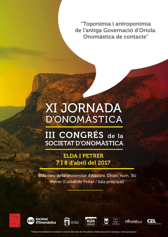 III Congrés De La Societat D'Onomàstica (Elda I Petrer, 7 I 8 D'abril De 2016)
